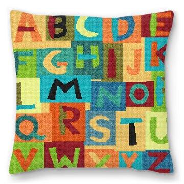 Colorful Alphabet Needlepoint Pillow