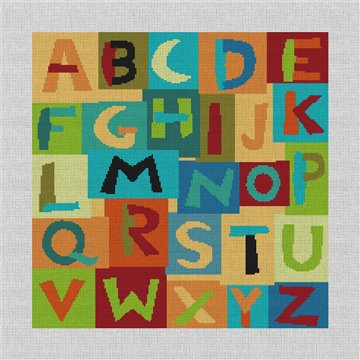 Colorful Alphabet Needlepoint Pillow Canvas