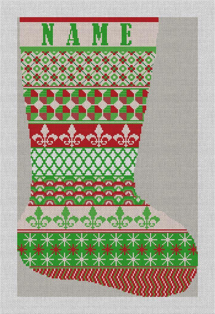 Colorful Avesta Needlepoint Stocking Canvas