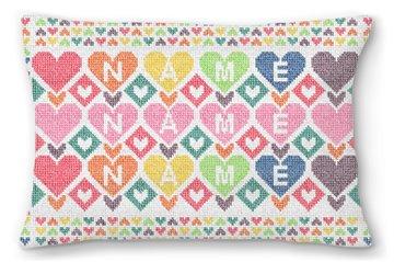 Colorful Hearts Custom Kids Needlepoint Pillow