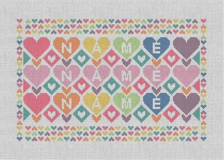 Colorful Hearts Personalized Needlepoint Canvas