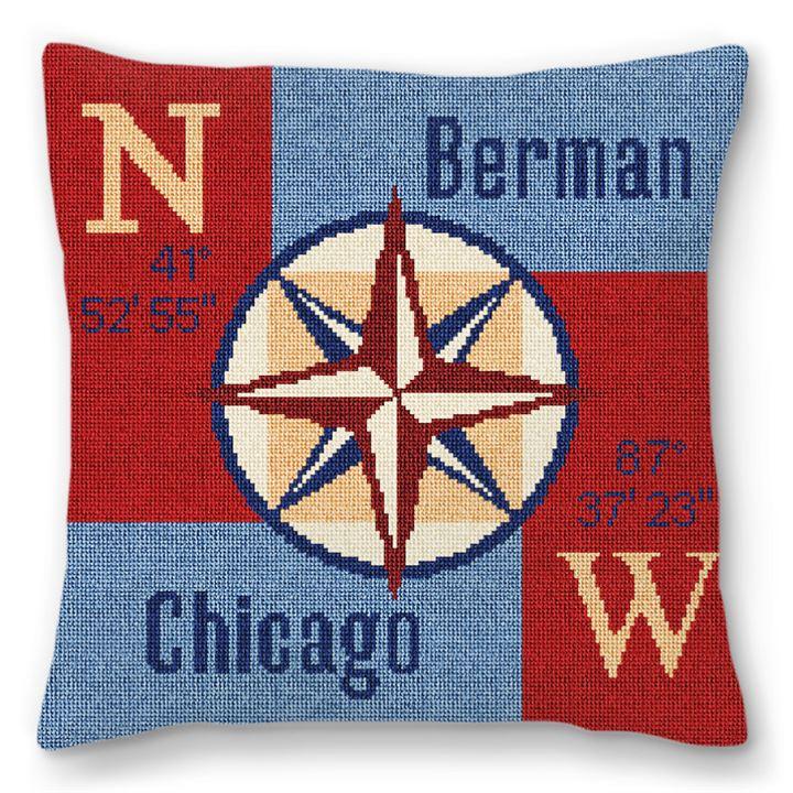 Compass Rose Needlepoint Pillow