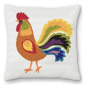 Copper Rooster Needlepoint Pillow