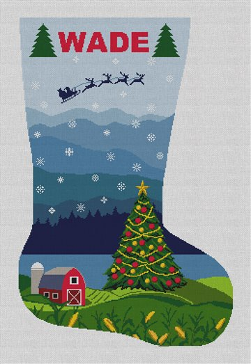 Country Christmas Needlepoint Stocking Canvas