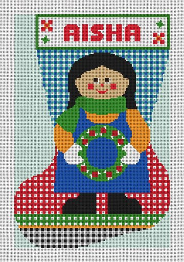 Country Gingham Needlepoint Stocking Canvas