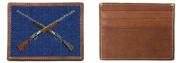 Crossed Shotguns Needlepoint Card Wallet