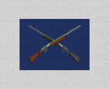 Crossed Shotguns Needlepoint Card Wallet Canvas