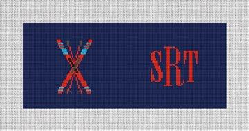 Crossed Skis Needlepoint Flask Canvas