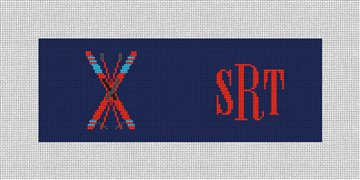 Crossed Skis Needlepoint Wallet Canvas