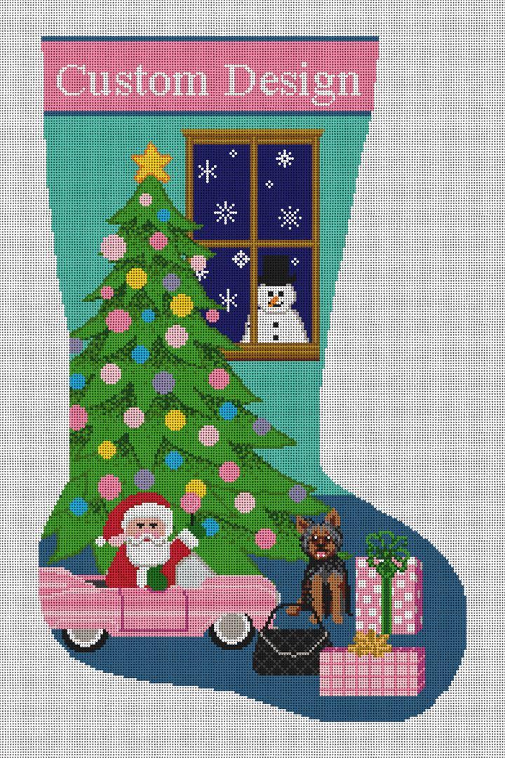 Custom Christmas Stocking Needlepoint Canvas
