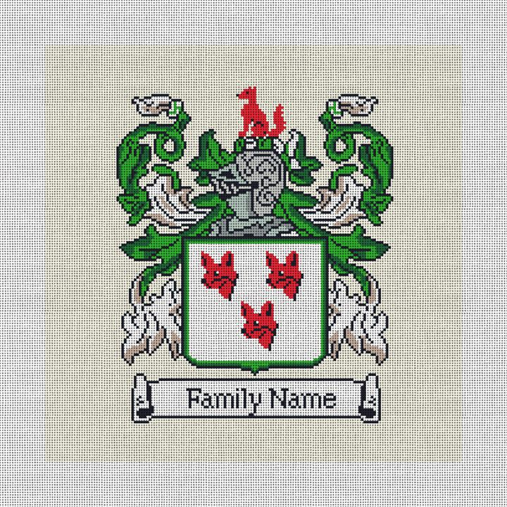 Custom Family Crest Needlepoint Canvas