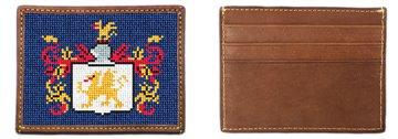 Custom Family Crest Needlepoint Card Wallet
