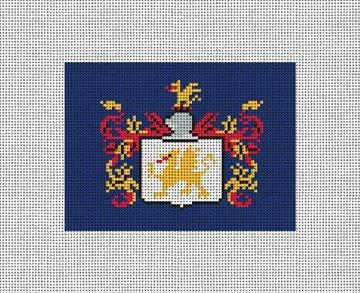 Custom Family Crest Needlepoint Card Wallet Canvas