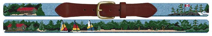 Custom Landscape Scene Needlepoint Belt