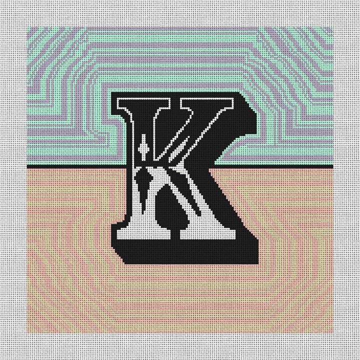 Custom Wave Letter Needlepoint Pillow Canvas