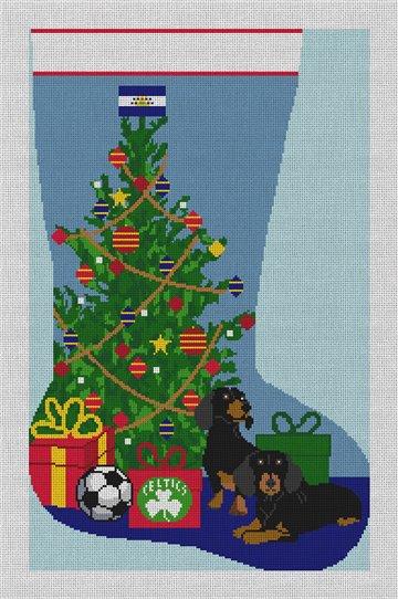 Dachshund Christmas Stocking Needlepoint Canvas
