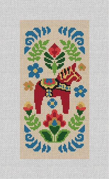 Dala Horse Red Needlepoint Eyeglass Case Canvas
