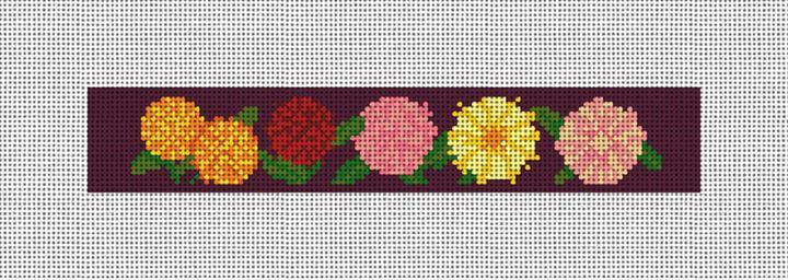 Darling Dahlias Needlepoint Key Fob Canvas