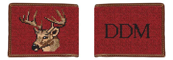 Deer Head Needlepoint Wallet