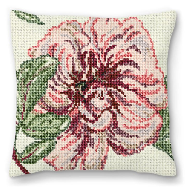 Delicate Peony Needlepoint Pillow