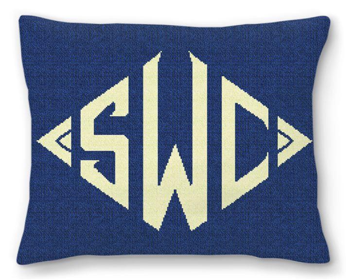 Diamond Monogram Needlepoint Pillow