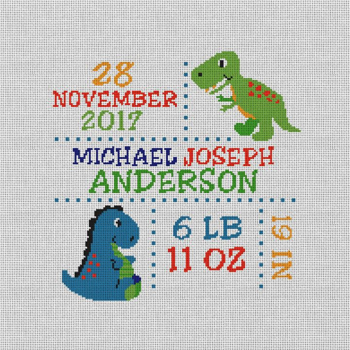 Dinosaur Birth Announcement Needlepoint Canvas