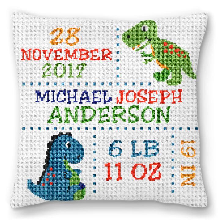 Dinosaur Birth Announcement Needlepoint Pillow