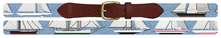 Early Americas Cup Yachts Needlepoint Belt