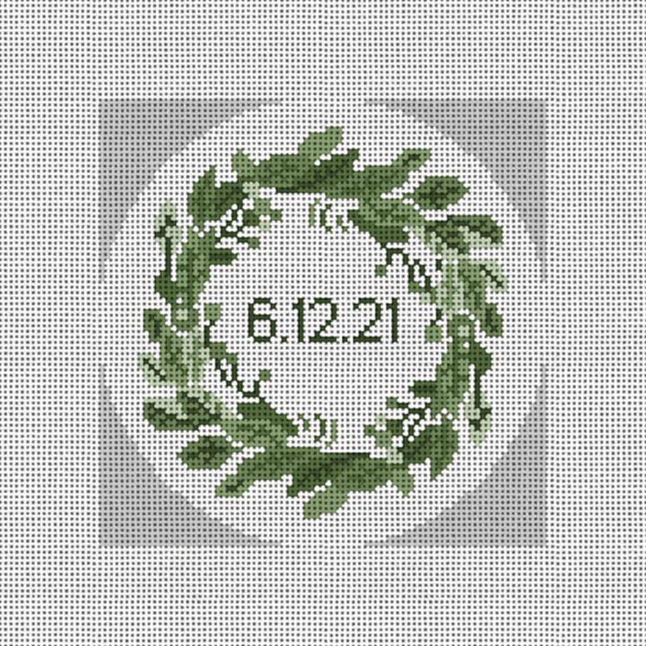 Elegant Wreath Needlepoint Ornament Canvas
