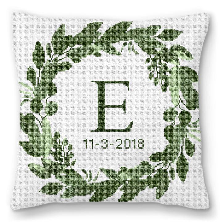 Elegant Wreath Needlepoint Pillow