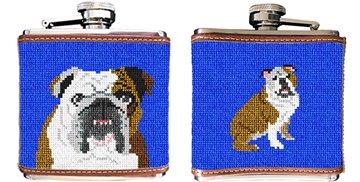 English Bulldog Needlepoint Flask