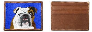 English Bulldog Portrait Needlepoint Card Wallet