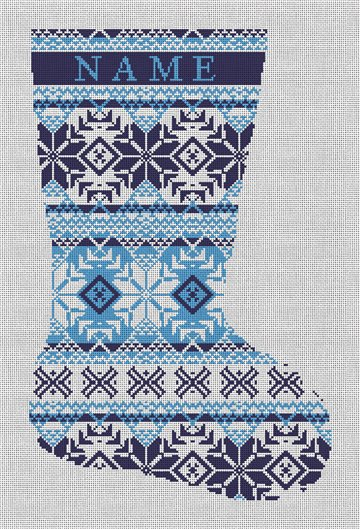 Fair Isle Blues Needlepoint Stocking Canvas