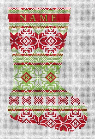 Fair Isle Red Green Needlepoint Stocking Canvas