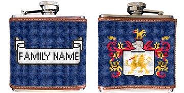 Family Crest Needlepoint Flask