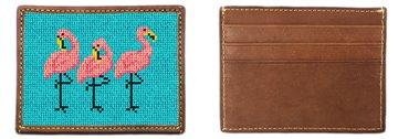 Fancy Flamingos Needlepoint Card Wallet