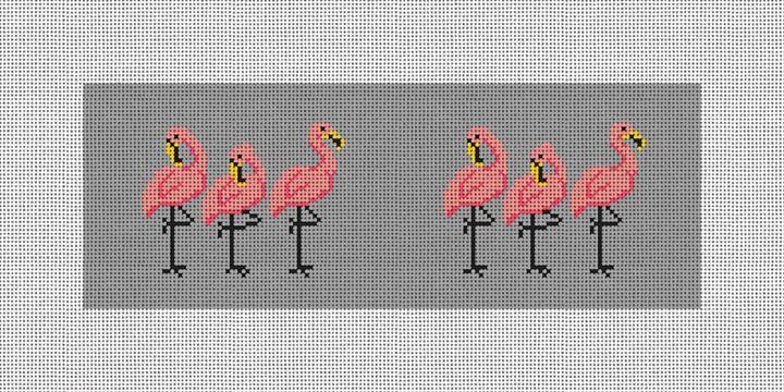 Fancy Flamingos Needlepoint Wallet Canvas