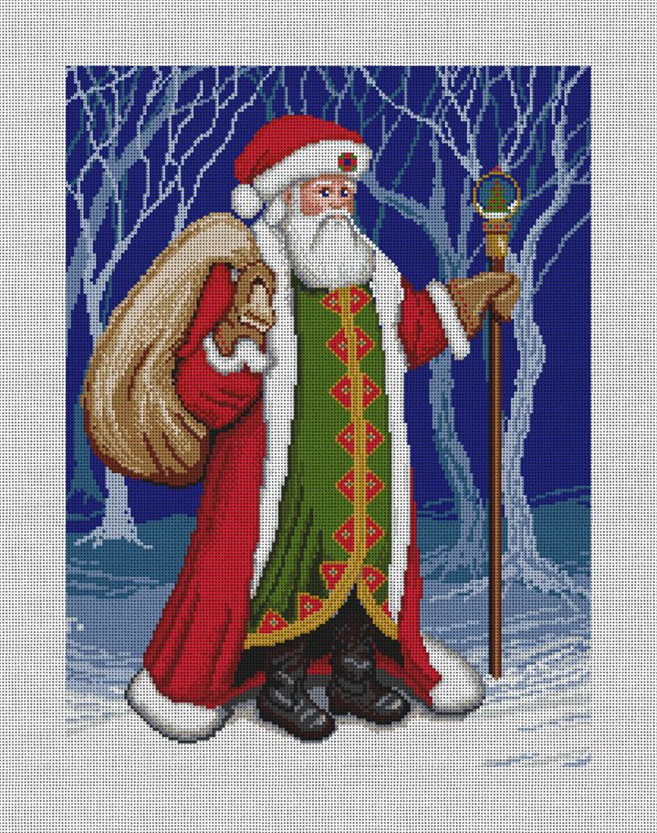 Father Christmas Needlepoint Pillow Canvas