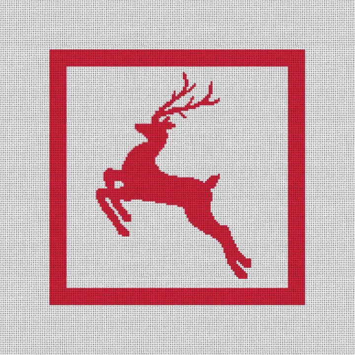 Festive Reindeer Needlepoint Pillow Canvas