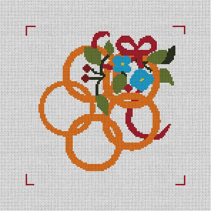 Five Golden Rings Needlepoint Canvas