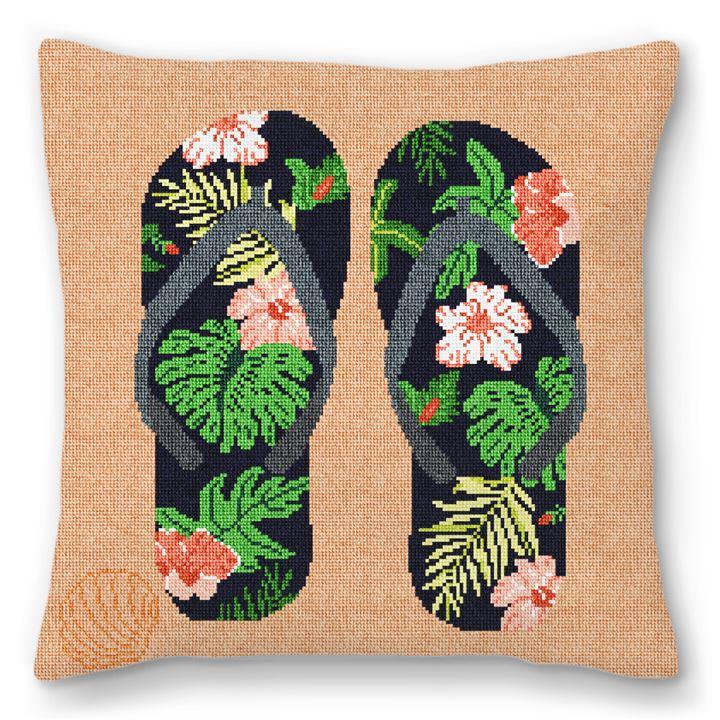 Flip Flops Needlepoint Pillow