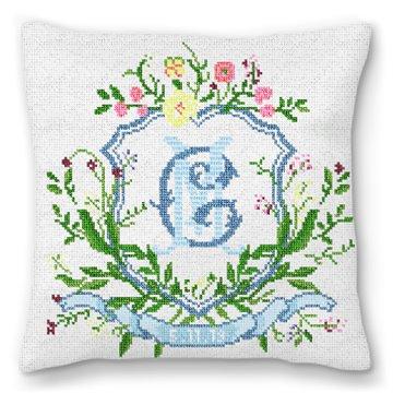Floral Crest Wedding Needlepoint Pillow