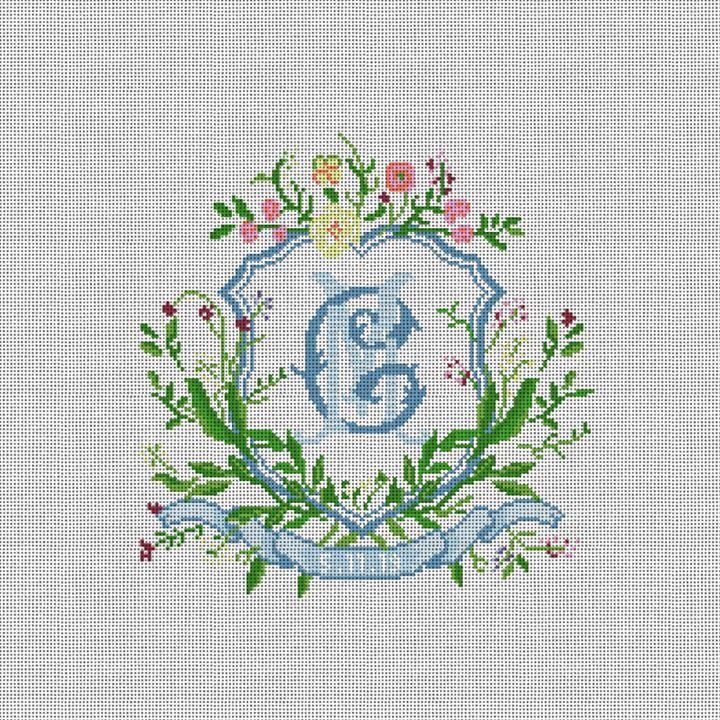 Floral Crest Wedding Needlepoint Pillow Canvas