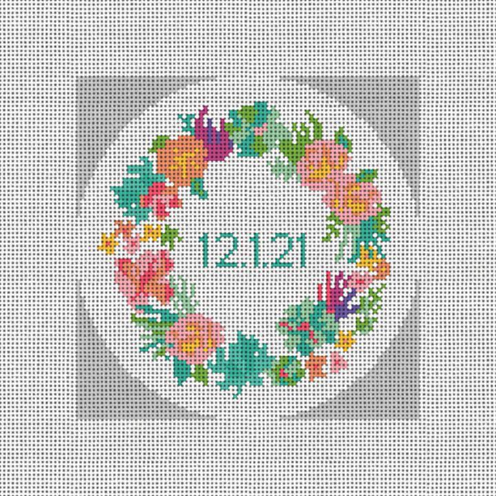 Floral Wreath Wedding Needlepoint Ornament Canvas