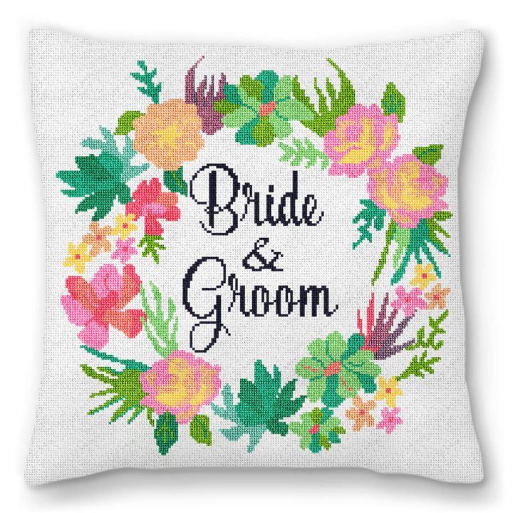Floral Wreath Wedding Needlepoint Pillow