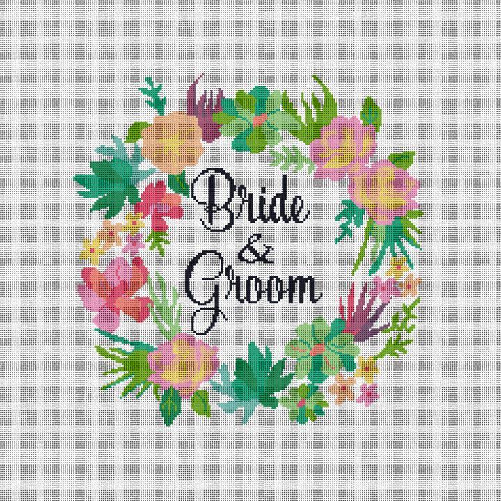 Floral Wreath Wedding Needlepoint Pillow Canvas