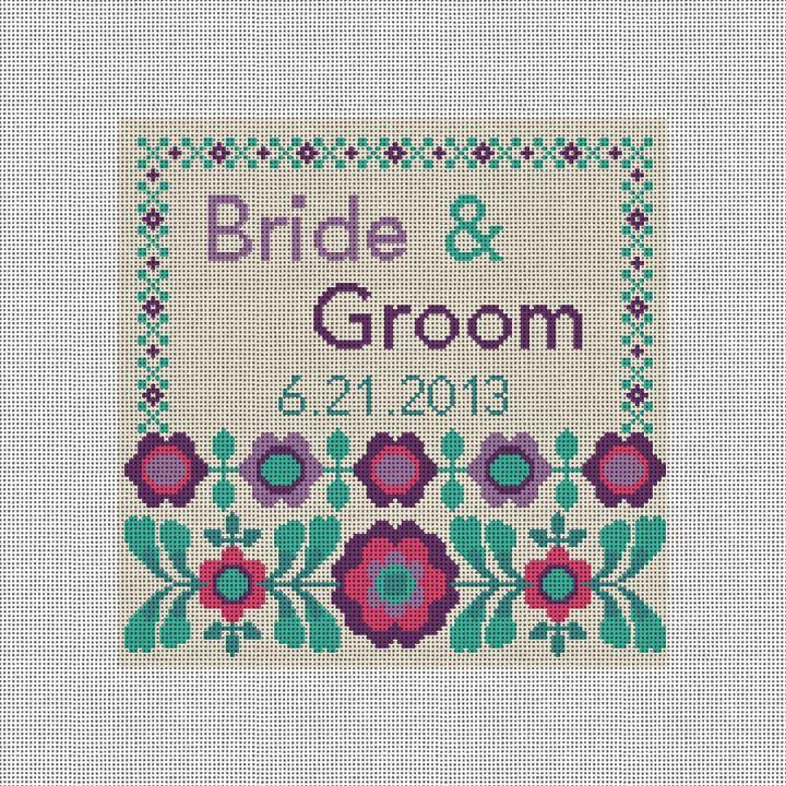 FlowerPop Wedding Pillow Needlepoint Canvas