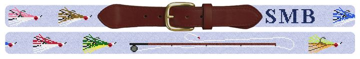 Fly Fisherman Custom Needlepoint Belt