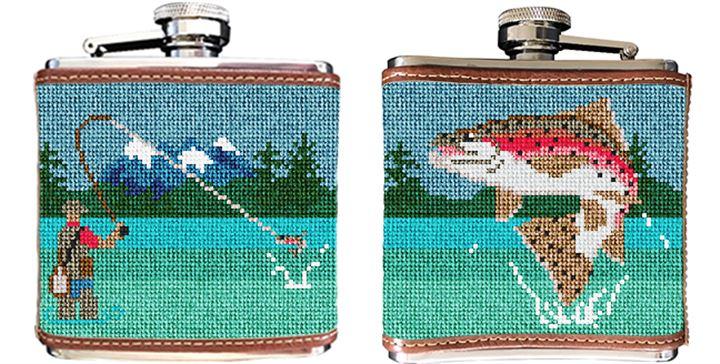 Fly Fishing Landscape Needlepoint Flask