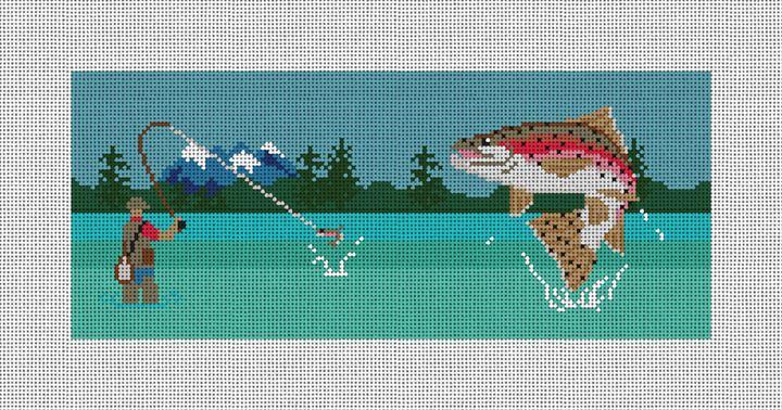 Fly Fishing Landscape Needlepoint Flask Canvas